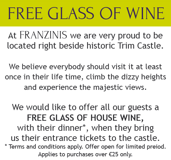 win a free glass of wine at franzinis restaurant Trim